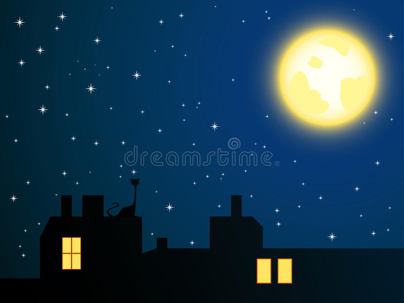 Night roofs and lonely cat looking at full moon. Vector illustration of night roofs and lonely cat looking at full moon royalty free illustration