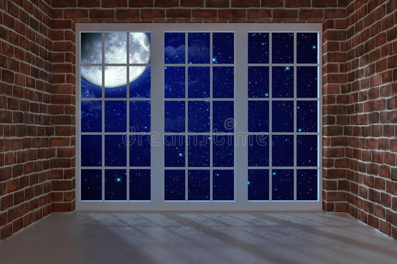 Night room. Room with a large window at night royalty free illustration