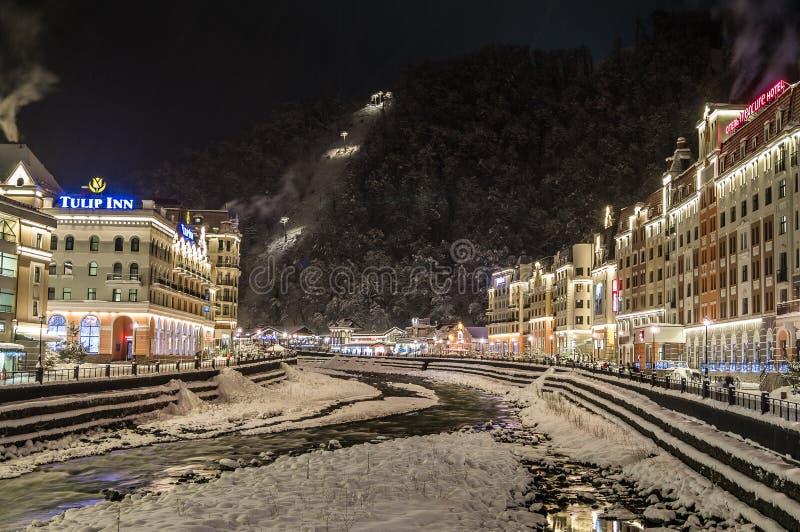Night Rosa Khutor, Sochi,Russia. stock images