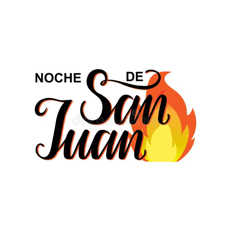 Night of Saint John in Spanish language. Noche de San Juan. Night of Saint John in Spanish language. Vector illustration background.Name of Saint John the vector illustration