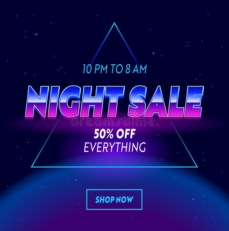 Night Sale Advertising Banner with Typography on Neon Space with Stars Cyberpunk Futuristic Background. Shopping Discount vector illustration