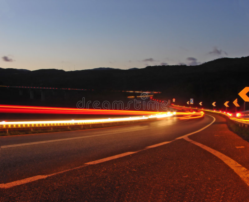 Night scene. Higway, cars ean light royalty free stock images