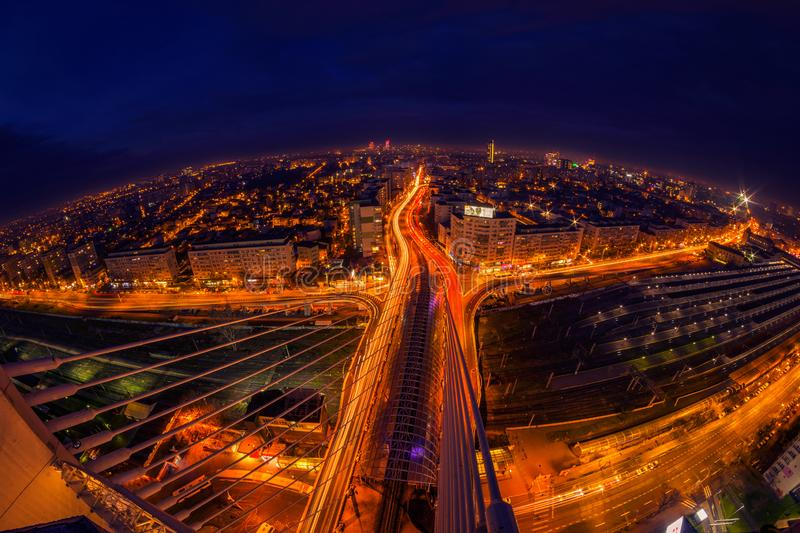 Night scene above the city with city lights and traffic lights a stock photos