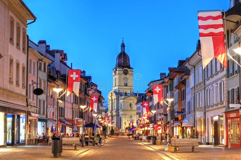 Grand Rue, Morges, Switzerland royalty free stock photography