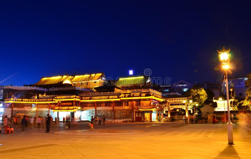 Night scene of ancient architecture royalty free stock photos