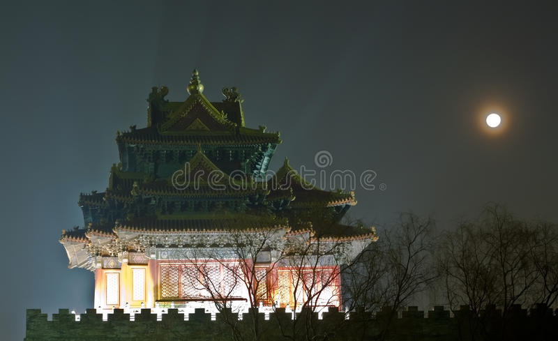 Night scene of ancient tower stock photo