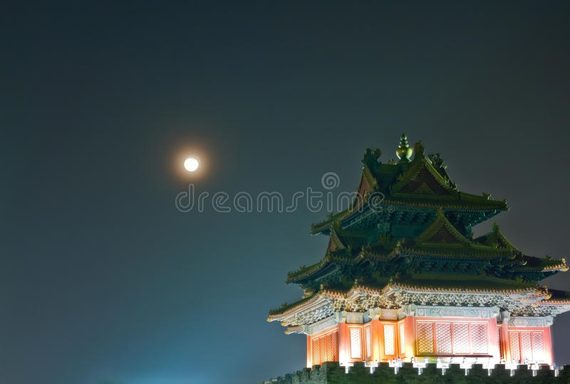 Night scene of ancient tower royalty free stock image