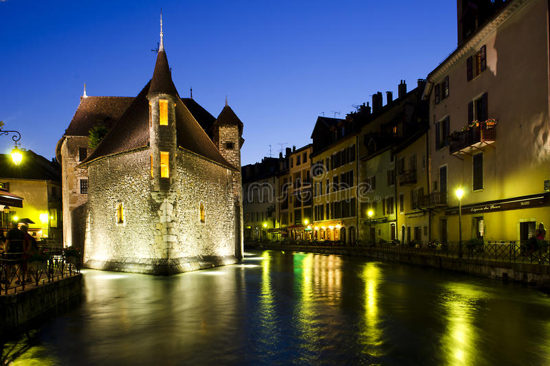 Download Night Scene In Annecy, France Stock Image - Image: 25692805