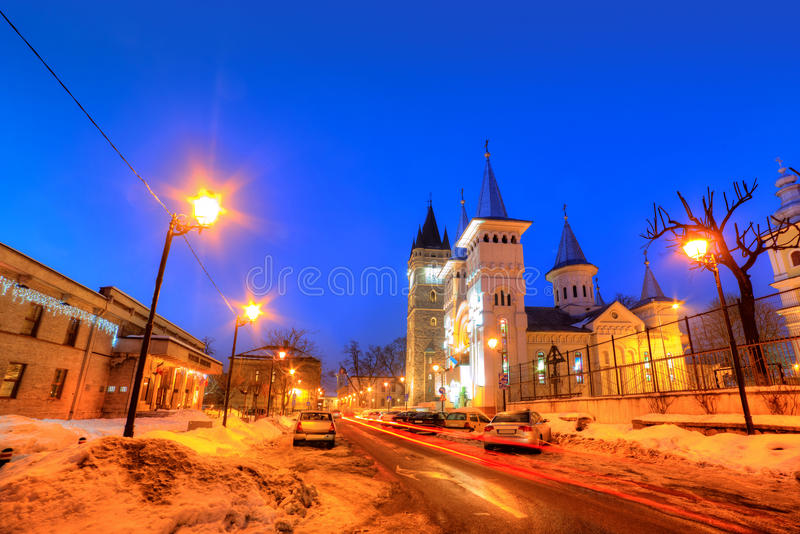 Night scene, Baia Mare, Romania stock images