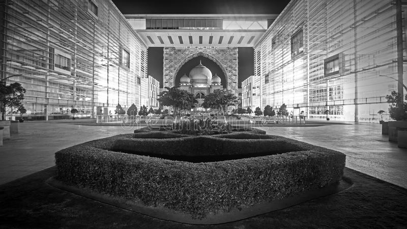 Palace of Justice, Putrajaya Malaysia. Night scene in black and white of Perbadanan Putrajaya building and Palace of Justice or Istana Kehakiman in Putrajaya stock photo