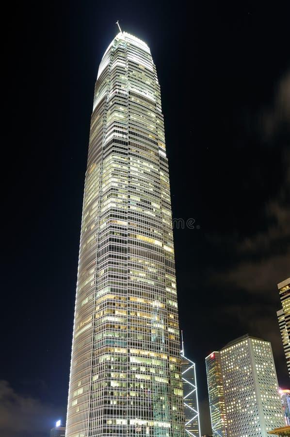 Night scene of business building stock photo