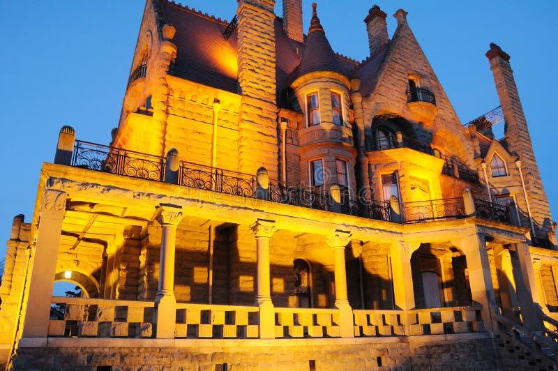 Night scene of castle royalty free stock photo