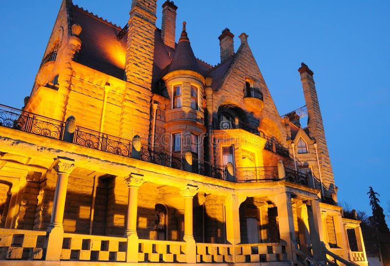 Night scene of castle stock photography