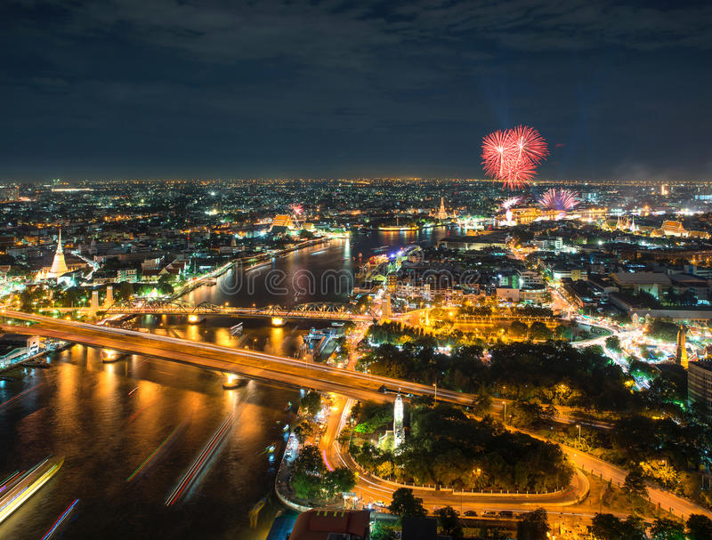 Night Scene Chao Phraya river with fireworks, Bangkok, Thailand stock photography