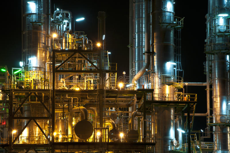 Night scene of chemical plant royalty free stock photo