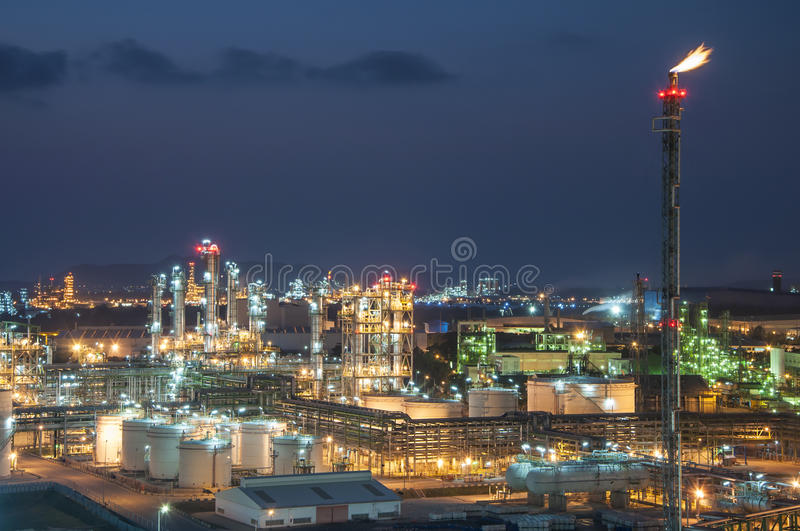 Night scene of chemical plant royalty free stock photos