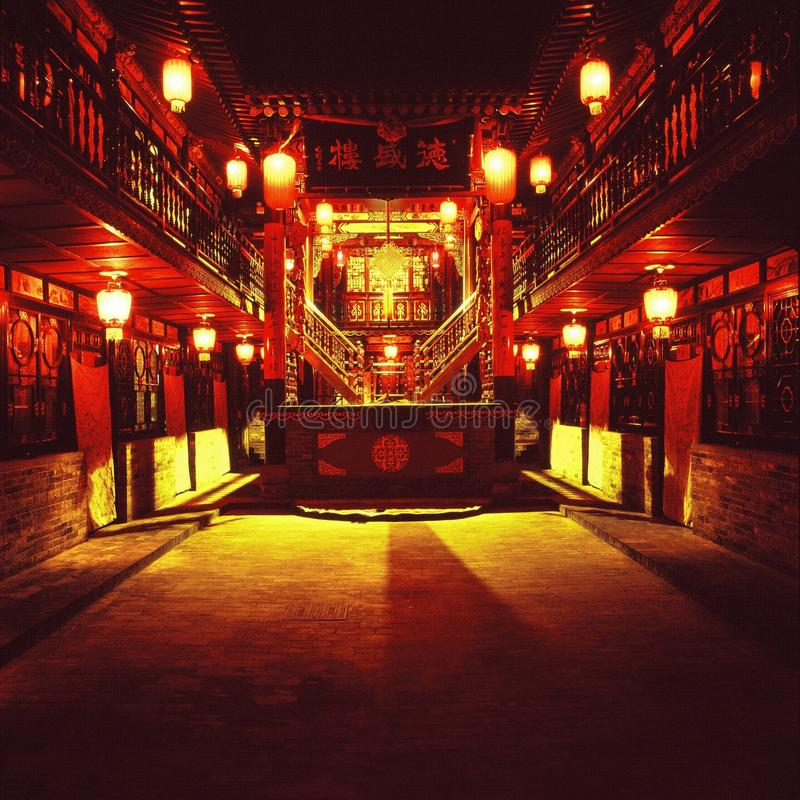 Night scene of a Chinese courtyard royalty free stock images