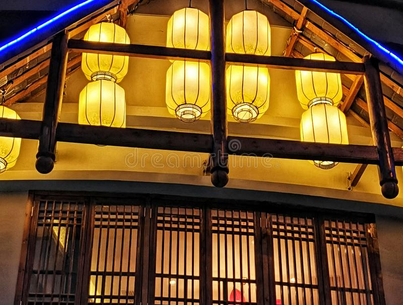 Night scene of chinese style restaurant stock photography
