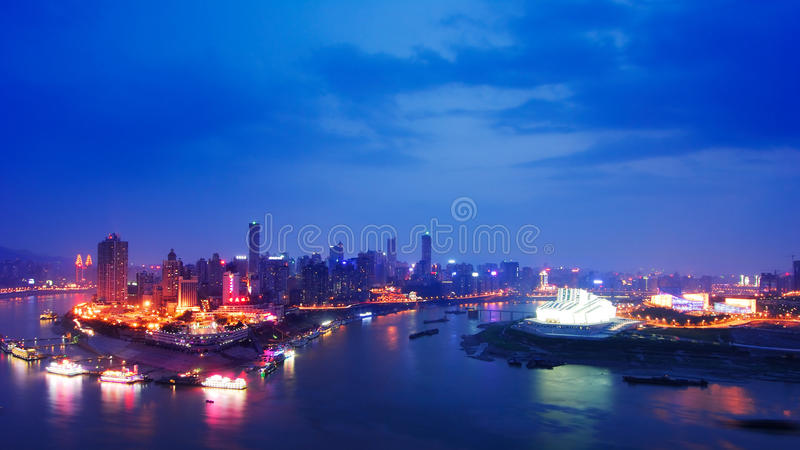 Night scene of Chongqing. On the top of mountain, view the whole Chongqing city. It's so wonderful that you even unbelieved it. Sunset glow, Lights,colorful stock photography