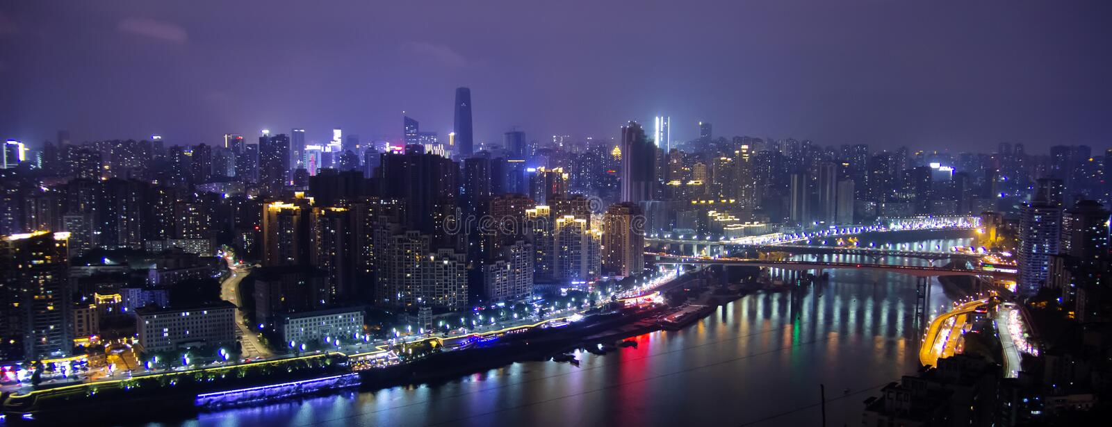 The night scene in Chongqing, China. Chongqing is located in the southwestern part of China. Surrounded by the Yangtze River and the Jialing River, the night of royalty free stock images