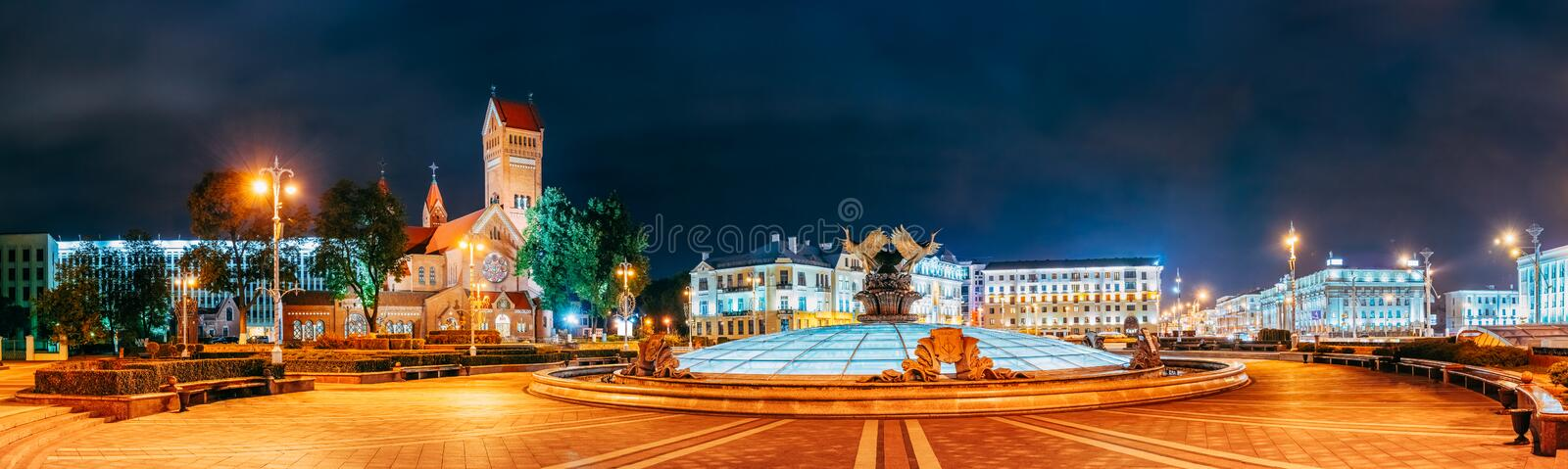 Night Scene - Church Of Saints Simon And Helen (Red Church) Is R royalty free stock photos