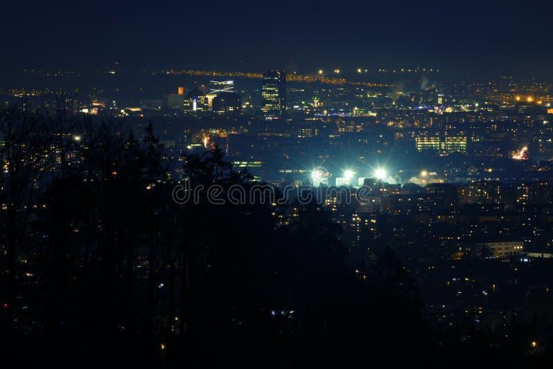 Night scene of the city of Ljubljana shot from Tosko Celo, Slovenia royalty free stock photography