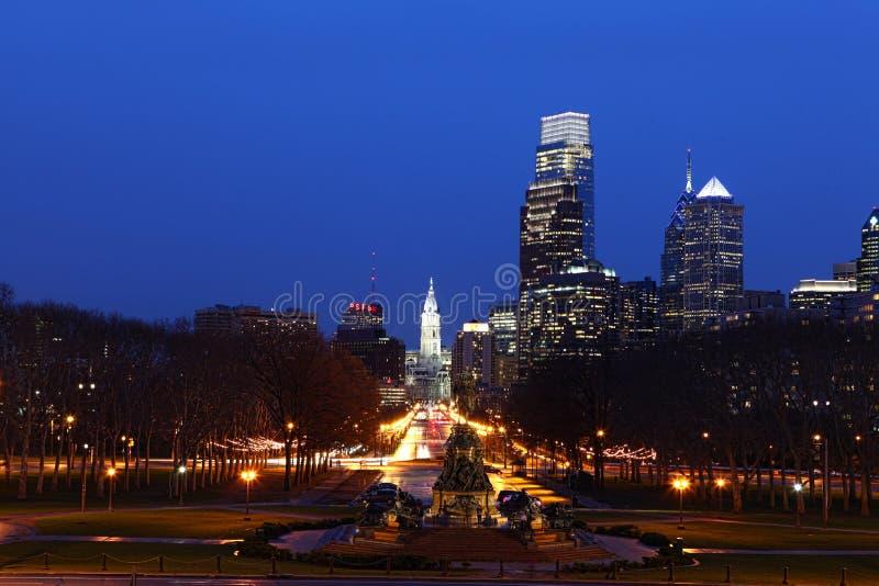 Night scene of the city of Philadelphia. A Night scene of the city of Philadelphia royalty free stock photos