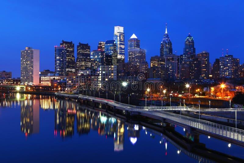 Night scene of the city of Philadelphia skyline stock images