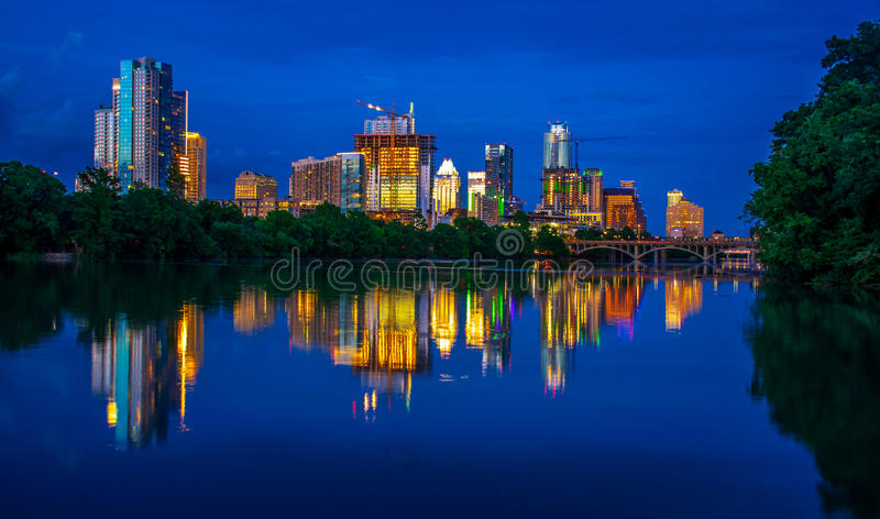 Night Scene City Skyline Cityscape Austin Texas Stock