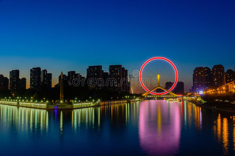 Night scene cityscape of Tianjin ferris wheel,Tianjin eyes with royalty free stock images