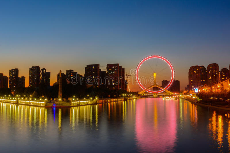 Night scene cityscape of Tianjin ferris wheel,Tianjin eyes with royalty free stock image