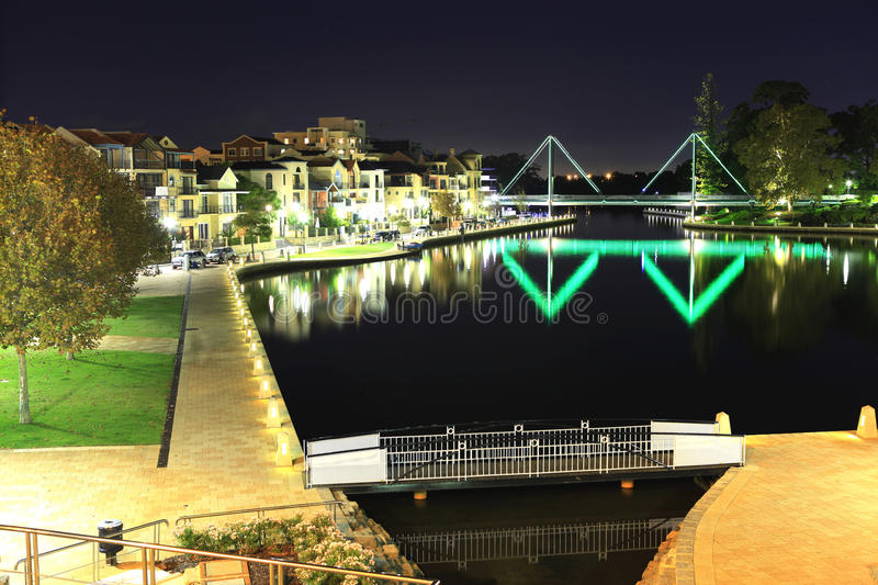 Night scene of East Perth city. stock photo