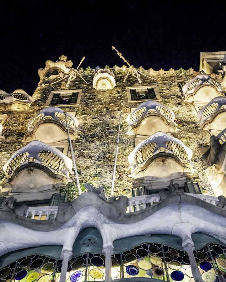 Gaudi Batllo House Building, Barcelona, Spain. Night scene exterior view of batllo house, a famous gaudi masterpiece atchitecture located in barcelona city royalty free stock photography