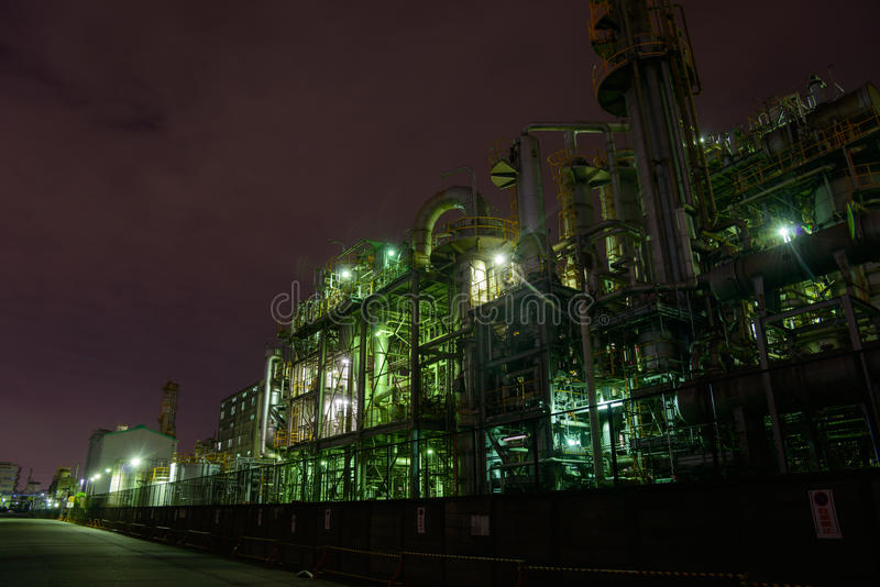 Night scene of Factories stock photo