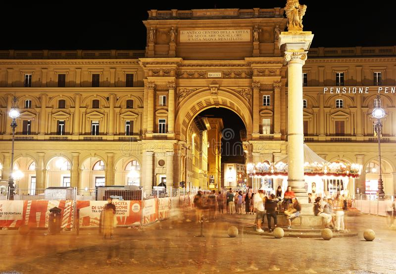 Night scene of Florence or Firenze city Tuscany Italy - piazza della Repubblica - long exposure photography stock images