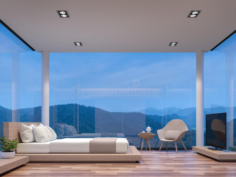 Night scene glass house bedroom with mountain view 3d rendering image stock illustration