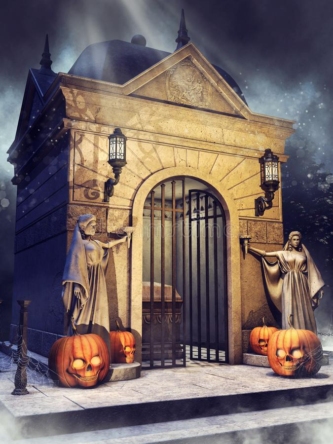 Gothic crypt with statues and Halloween pumpkins. Night scene with a gothic crypt with statues, lanterns, and Halloween pumpkins stock illustration