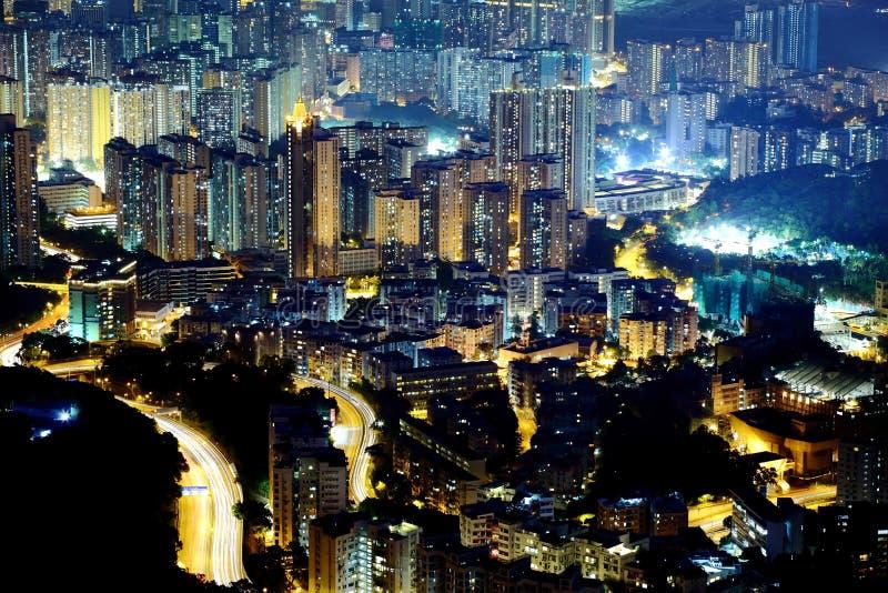 Night scene of high density residential stock images