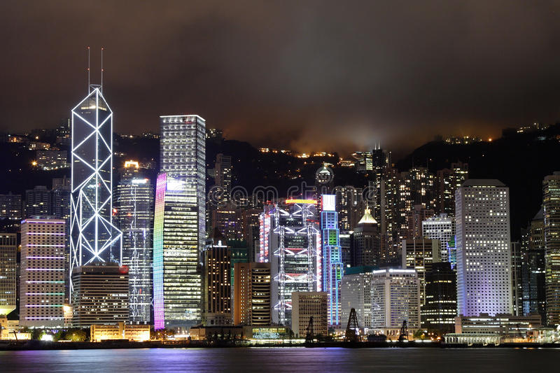 Night scene of the Hong Kong royalty free stock photography