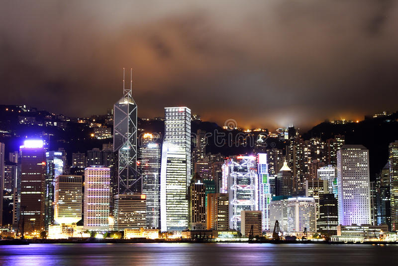 Night scene of the Hong Kong royalty free stock photos