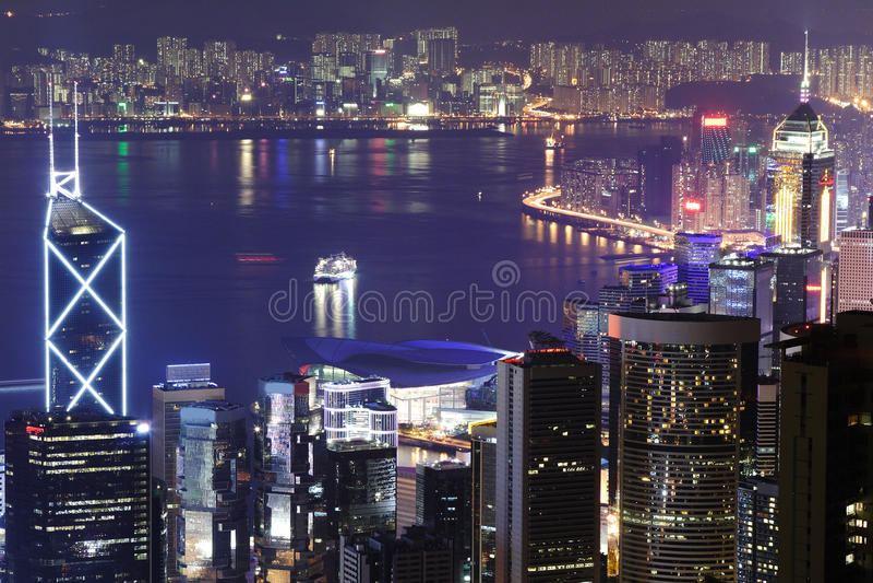 Night scene of the Hong Kong royalty free stock photo