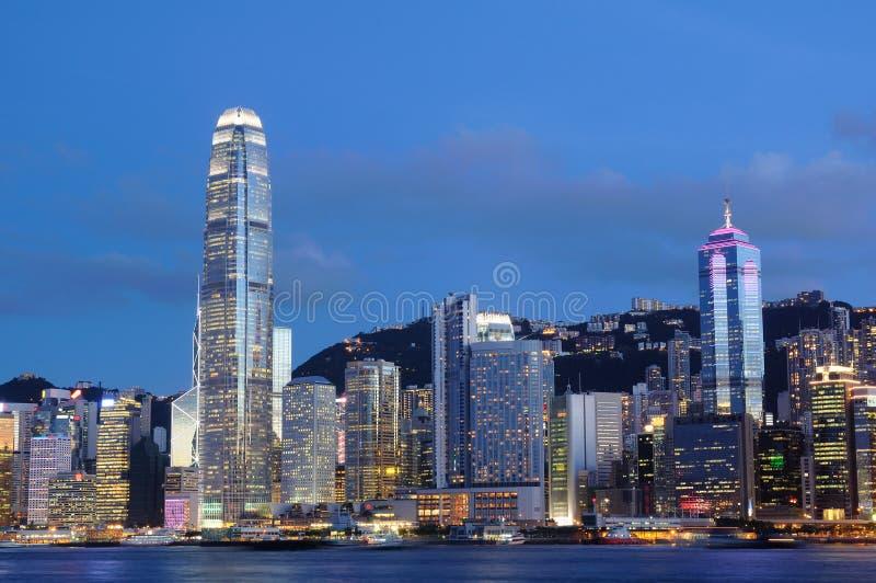Night Scene Of Hong Kong Cityscape Stock Photo