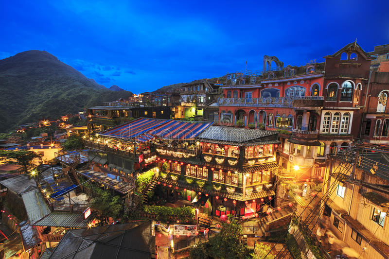Night scene of Jioufen village, Taipei, Taiwan royalty free stock photo