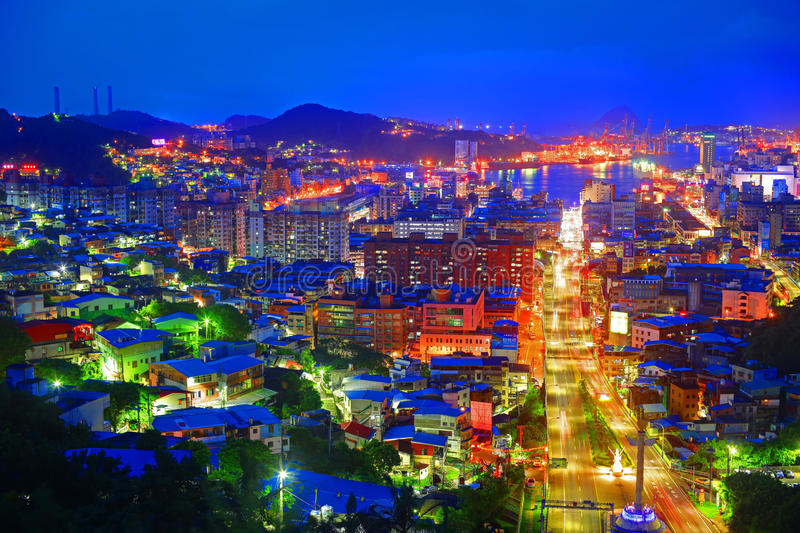 Night Scene of Keelung City in Taiwan.  royalty free stock image