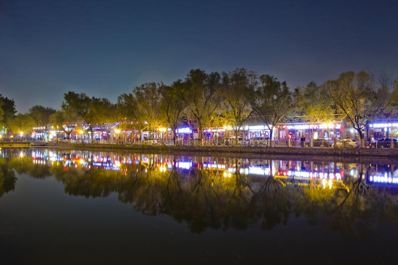 Night scene of lake reflection in Beijing Houhai royalty free stock image