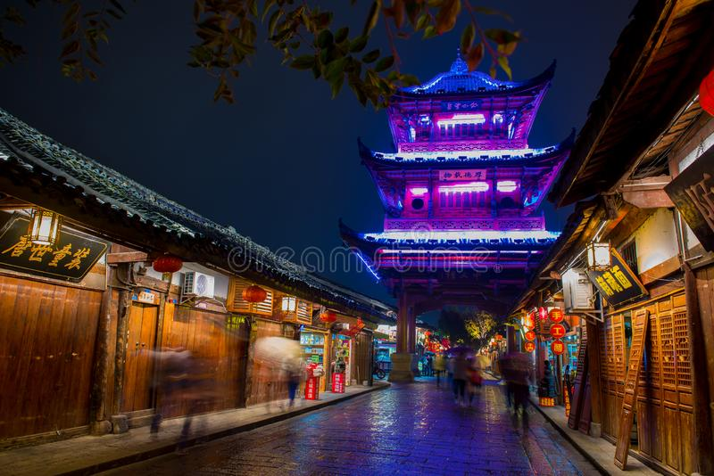 The night scene of Langzhong City royalty free stock photography