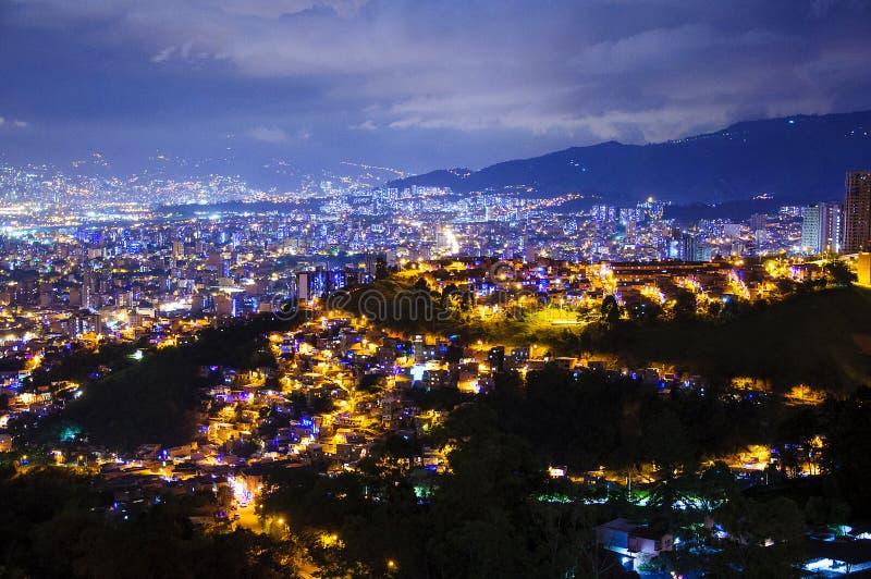 Night scene of Medellin in Colombia stock photos