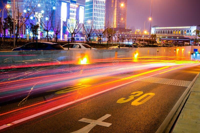 Night scene of modern city. In shanghai stock photos