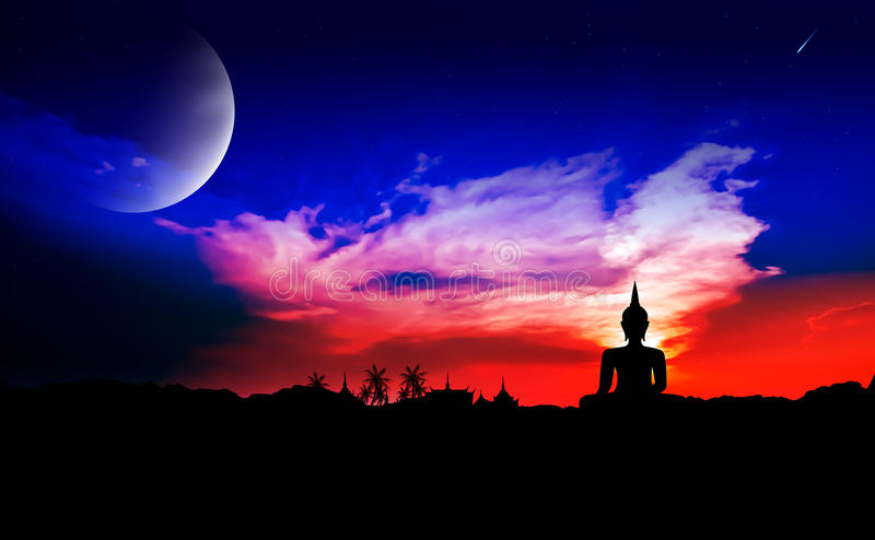 Night scene with moon. And buddha statue royalty free stock photography