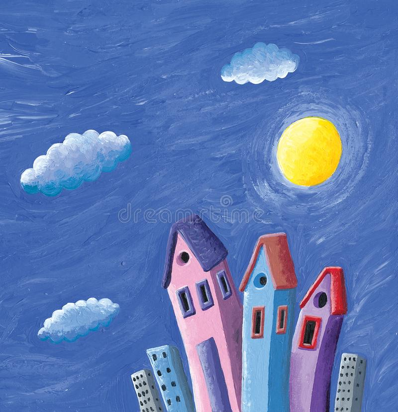 Night scene with moon and clouds of colorful houses. Acrylic illustration of the night scene with moon and clouds of colorful houses royalty free illustration